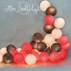 10 kul Warm Red  Cotton Ball Lights