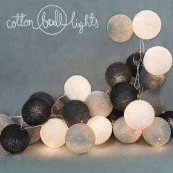 10 kul Grey Shadow Cotton Ball Lights